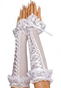Roxana - GLOVES - białe, długie rękawiczki zdobione koronką