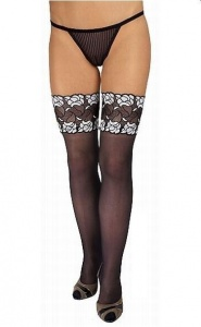 LUXURY LEGS - eleganckie pończochy zdobione szeroką koronką