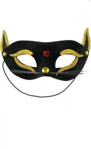 PARTY FUN- EXCLUSIVE MASK - maska na oczy kotek gold