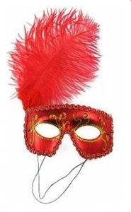 PARTY FUN- EXCLUSIVE MASK - maska na oczy kotek red