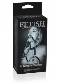 FETISH FANTASY SERIES O RING GAG WITH NIPPLE CLAMPS-klipsy