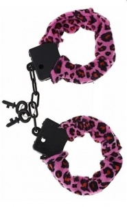 FURRY LOVE CUFFS LIGHT PINK PANTER - kajdanki z obszyciem
