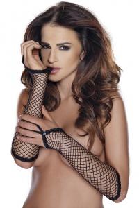 Roxana - GLOVES - czarne, siateczkowe rękawiczki do łokcia