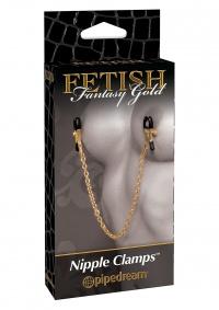 FETISH FANTASY GOLD NIPPLE CLAMPS - zaciski na sutki z kolekcji GOLD