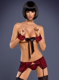 Obsessive - LAMIA SET 2G - kajdanki + pas do pończoch + stringi