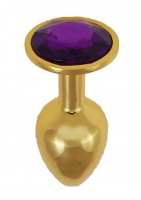 HEAVY METAL GOLD BUTT PLUG DIAMOND PURPLE- metalowy stymulator analny