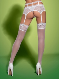 Obsessive - SWANITA STOCKINGS WHITE - seksowne pończochy