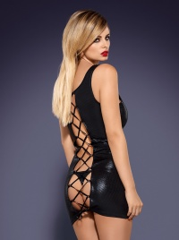 Obsessive - OBSYDIAN WETLOOK DRESS - drapieżna sukienka + stringi