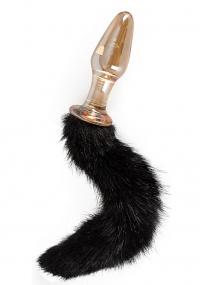 GLASS PLUG WITH TAIL - elegancki korek z puszystym ogonkiem