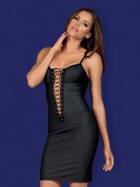 Obsessive - REBELLA DRESS -sukienka ze skóropodobnego materiału+ stringi