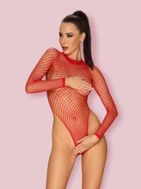 Obsessive -  FISHNET TEDDY RED - elektryzujące super seksowne body