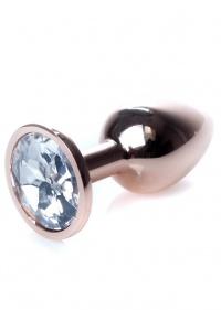 METAL BUTT PLUG DIAMOND ROSE GOLD - zdobiony, metalowy stymulator analny