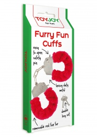 FURRY FUN CUFFS RED PLUSH - kajdanki z czerwonym futerkiem