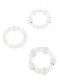COCKRINGS STAY HARD CLEAR - zestaw pierścieni dla mężczyzn